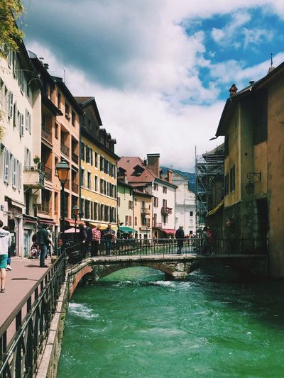 France Town Village River Canal Bridge Tourist Tourists Construction Scaffolding Buildings Colourful Water Cloudy Sky Bright