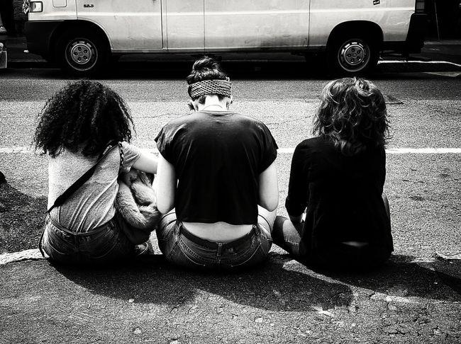 Taking Photos Getting Inspired Three Three Girls Girls Friends Behind Notes From The Underground Monochrome Monochrome Portrait Black&white Blackandwhite Blackandwhite Photography Streetphoto_bw Streetphotography