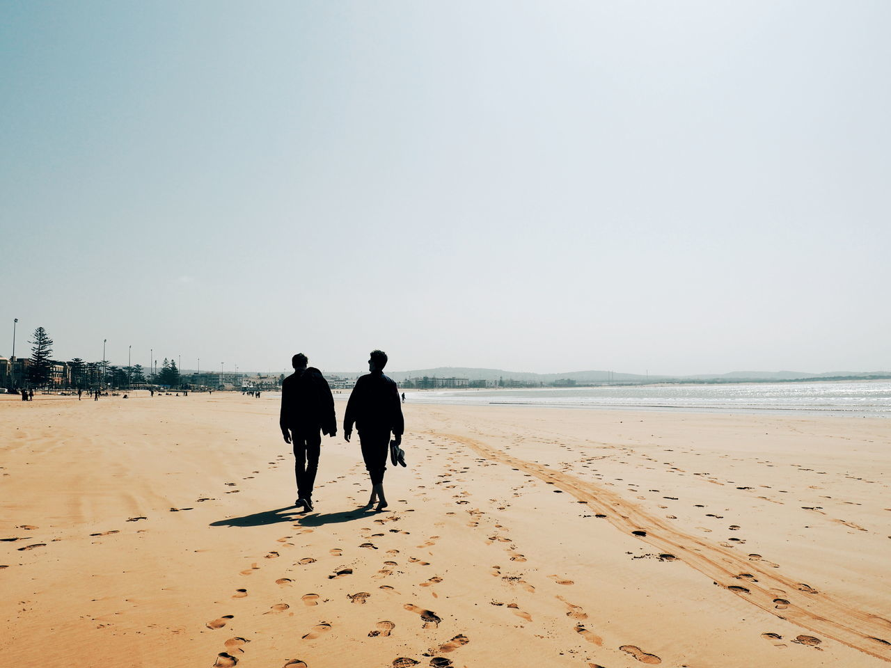 beach, sea, sand, two people, real people, clear sky, water, horizon over water, men, silhouette, sky, togetherness, rear view, nature, outdoors, beauty in nature, people, day, adult, mammal, adults only