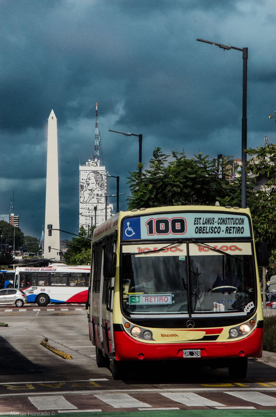 Horizontal Clouds Sky Public Transportation Transportation Argentina EyeEm Buenos Aires Colectivo Obelisco, Buenos Aires 🌆 Obelisco Evita Peron