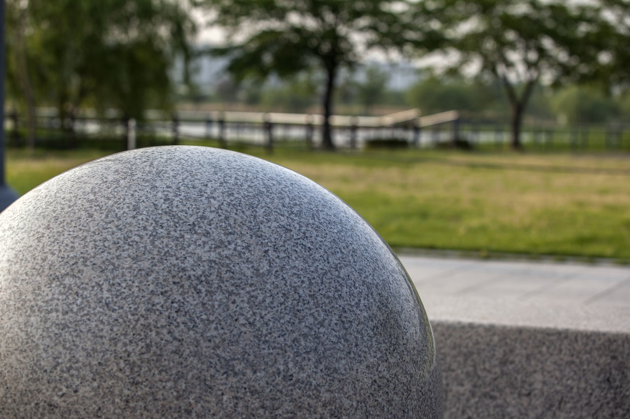Ball Beauty In Nature Bucheon Lake Park Close-up Day Focus On Foreground Grass Green Color Growth Landscape Nature No People Outdoors Park Part Of Round Selective Focus Sky Stone Balls Sunny Tranquility Tree