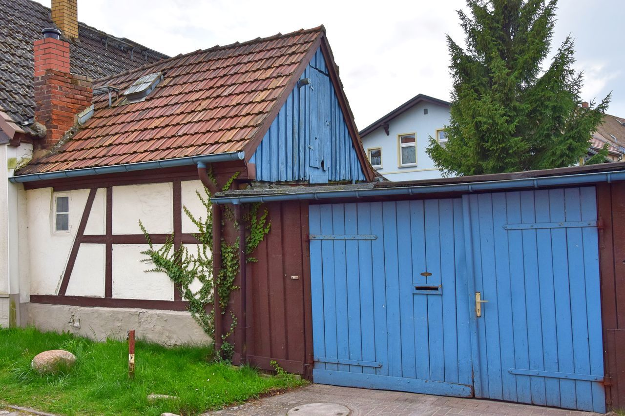 Architecture Blue Building Exterior Built Structure Colorful Day End Of My Visit In Gransee Half-timbered House House No People Old Old Buildings Outdoors Sky Tree