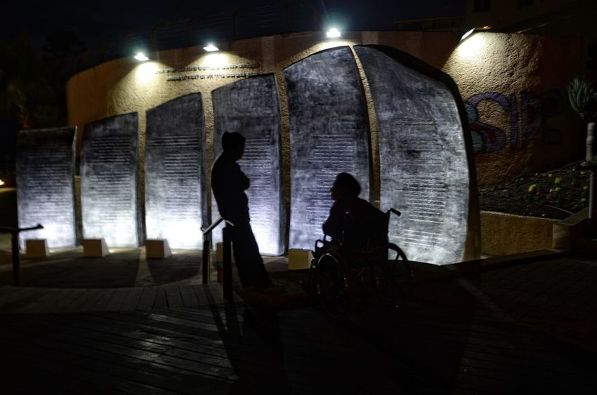 Architecture Disabled Illuminated Indoors  Jewish Memorial Men Night People Real People Two People Wheel Chair