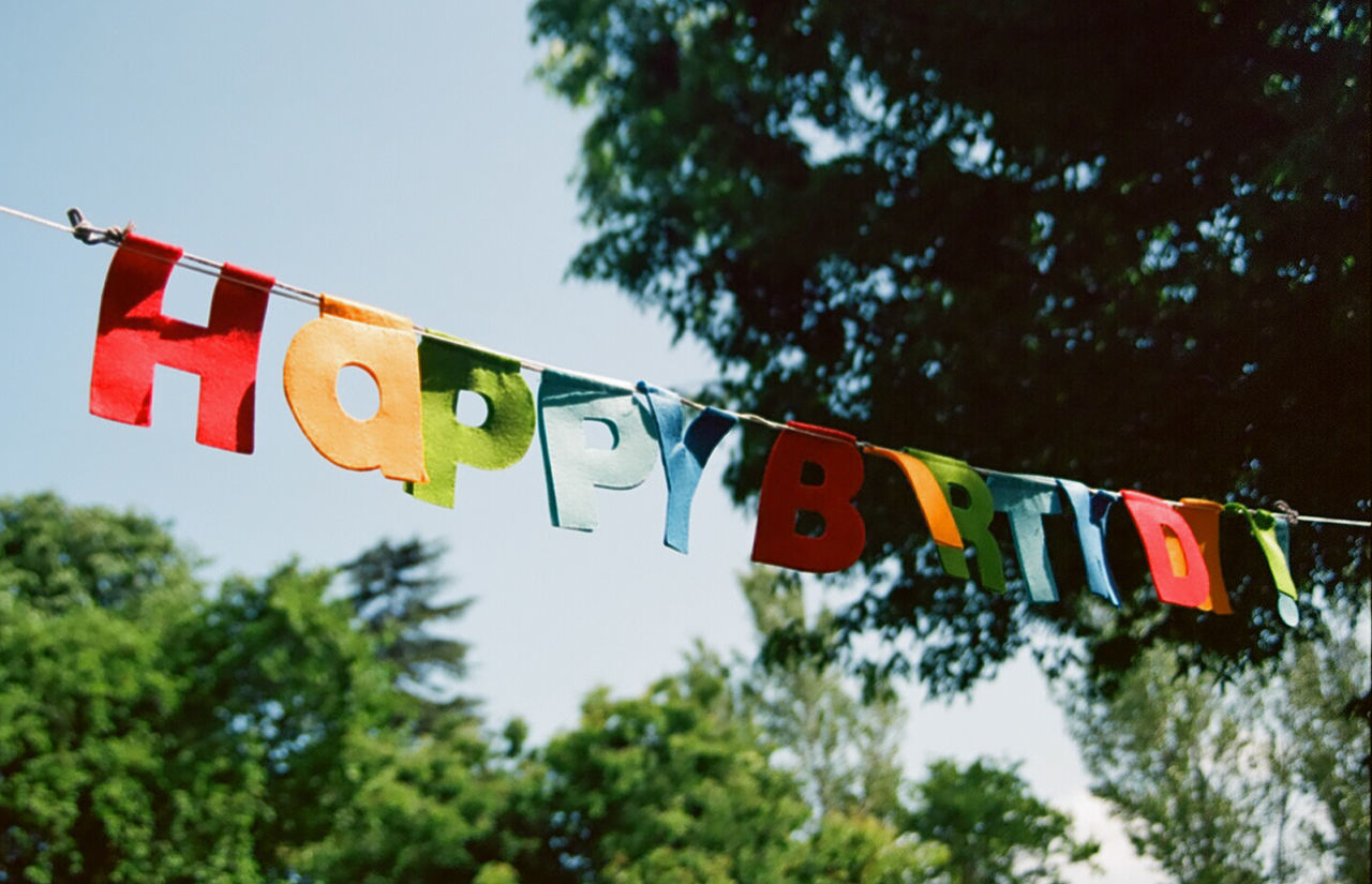 Low Angle View Of Happy Birthday Banner Against Trees