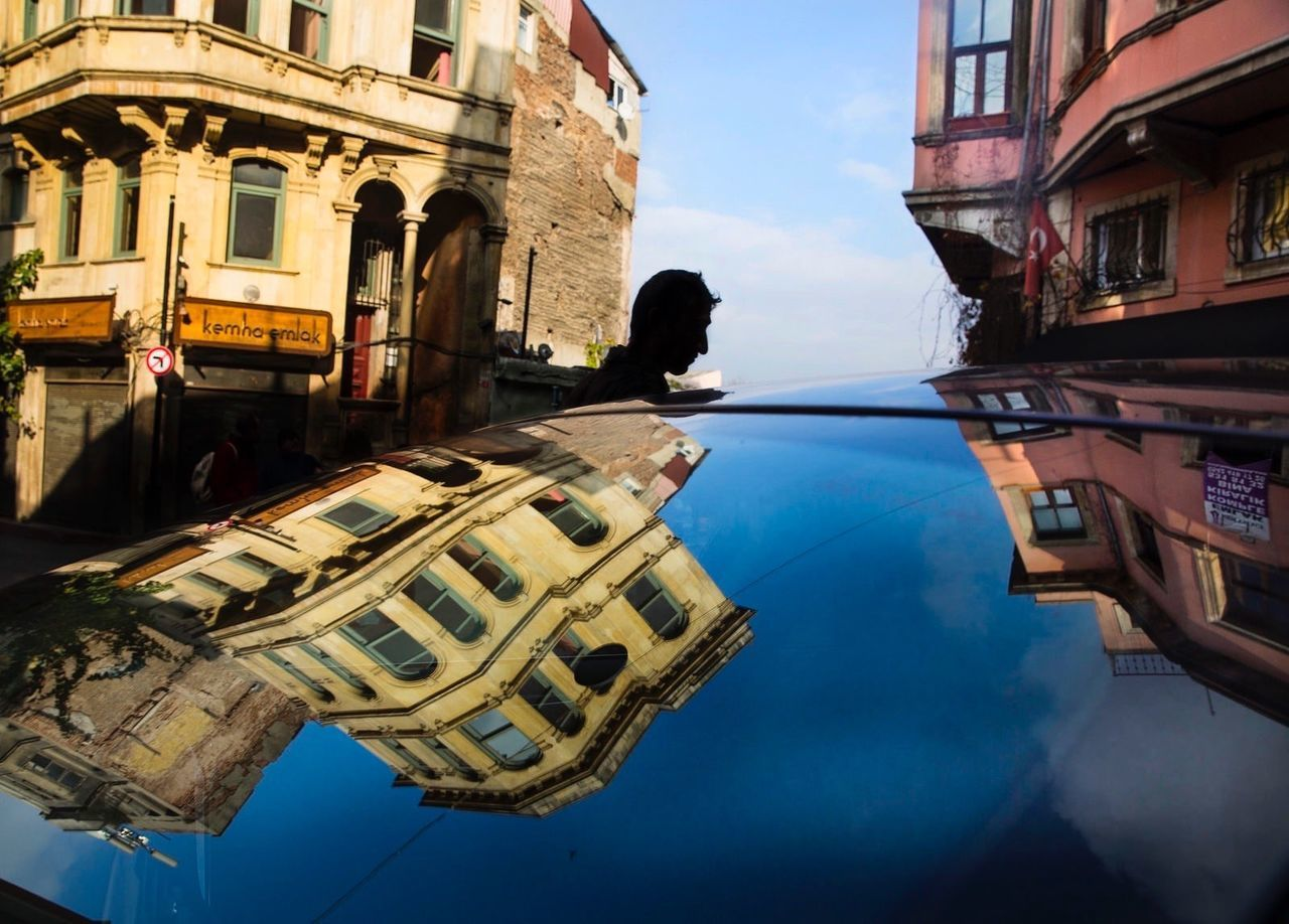 Architecture Outdoors One Person Istanbul Turkey Silhouette Reflection Türkiye Sokakfotografi Street Photography Colours Car Balat