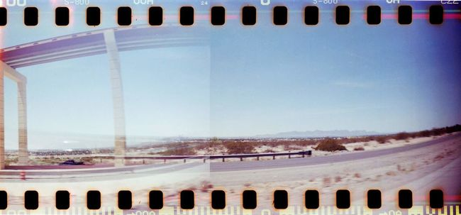 Road diverged. Sprocket Rocket Panorama Lomography Double Exposure Film Photography Film