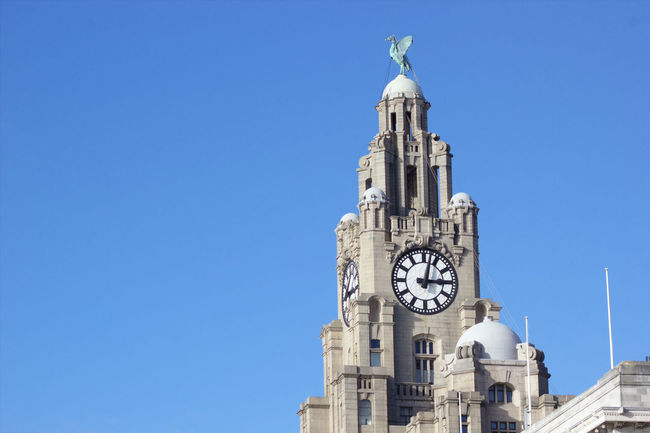 Clock Time Blue Travel Destinations Clear Sky Outdoors Clock Tower Tower Day No People Horizontal Building Exterior Clock Face Architecture Sky Minute Hand The Liver Building Liver Building