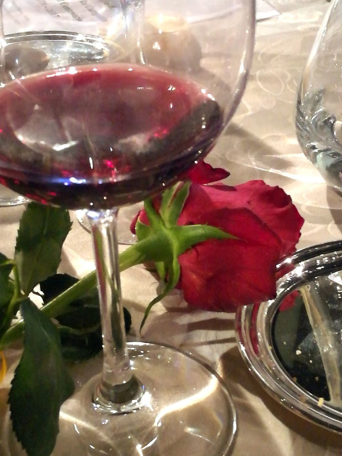 Wineglass Drinking Glass Wine Drink Food And Drink Red Wine Table Red Freshness Summer Close-up Rose🌹 A Night Out Dinner Table Wine and roses Wine Not
