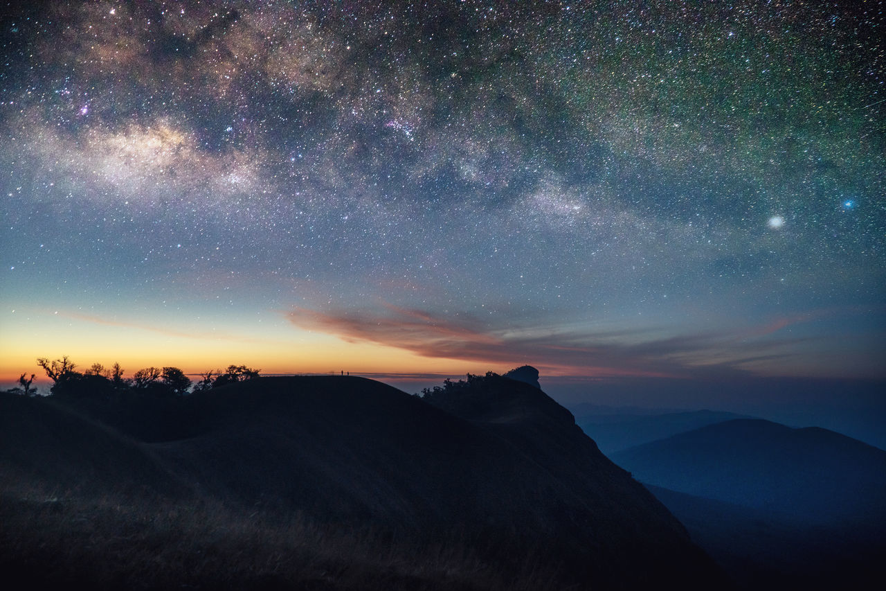 Milky way and morning light over mountain peak. Arts Culture And Entertainment Astronomy Constellation Galaxy Landscape Milky Way Milkyway Mountain Nature Night No People Outdoors Scenics Sky Space Star - Space Travel Travel Destinations