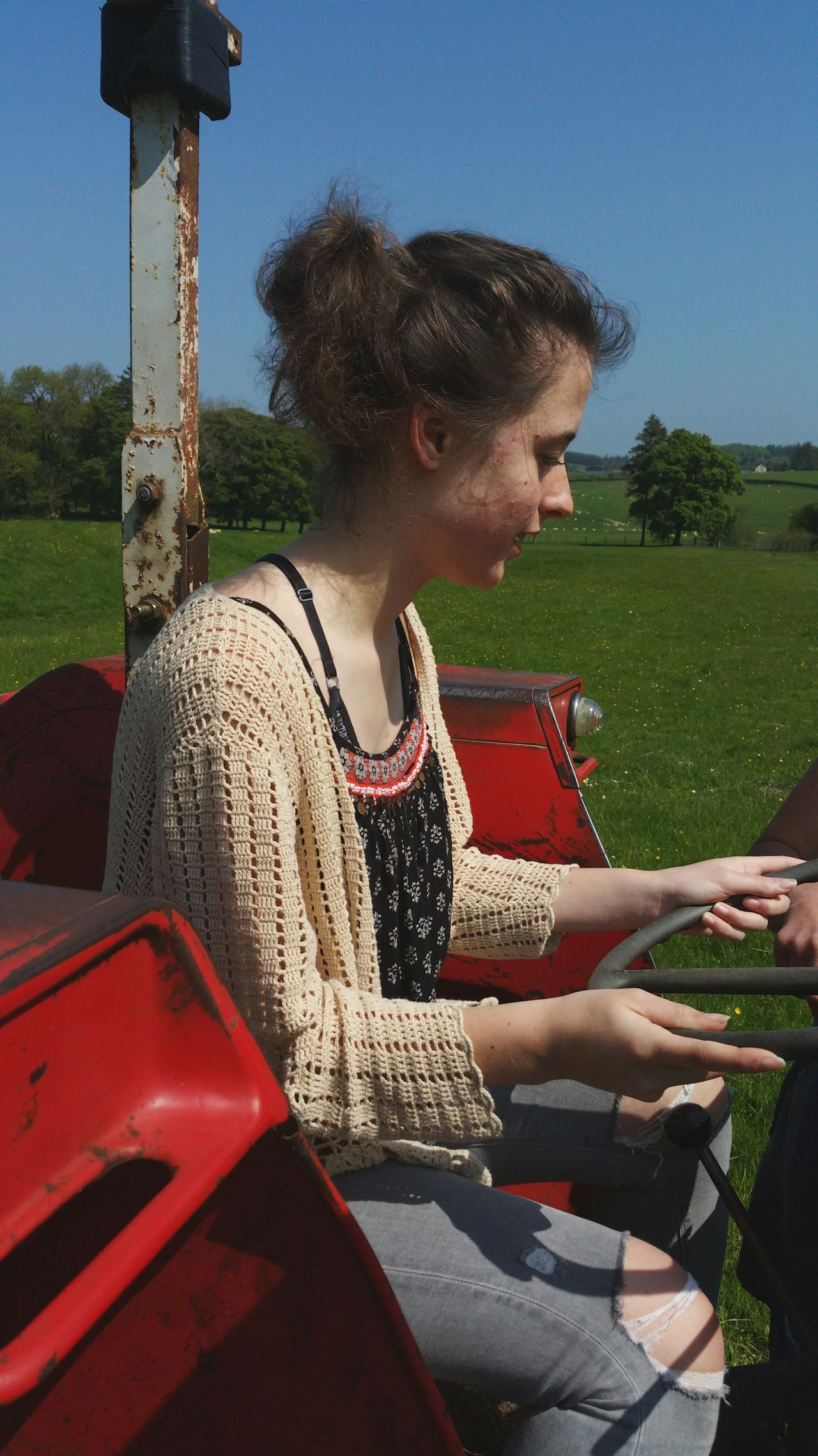 Learning To Drive Tractor Sunlight Outdoors Young Adult One Woman Only Day One Person Only Women People One Young Woman Only Young Women Sky Farm Farmland First Lesson Farm Life Summer Wales Countryside Rural Pasture Grass Field Britain