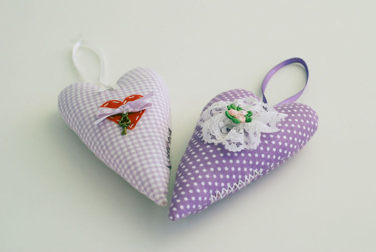 Close-up Handemade Hearts Love Soft Love Gift Selective Focus Tilda No People Studio Shot Heart Purple Valentine's Day  White Background