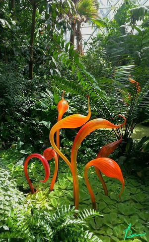 Spindley Resource Glass Art Tropical Plants Colorful Tentacles Art Sculpture