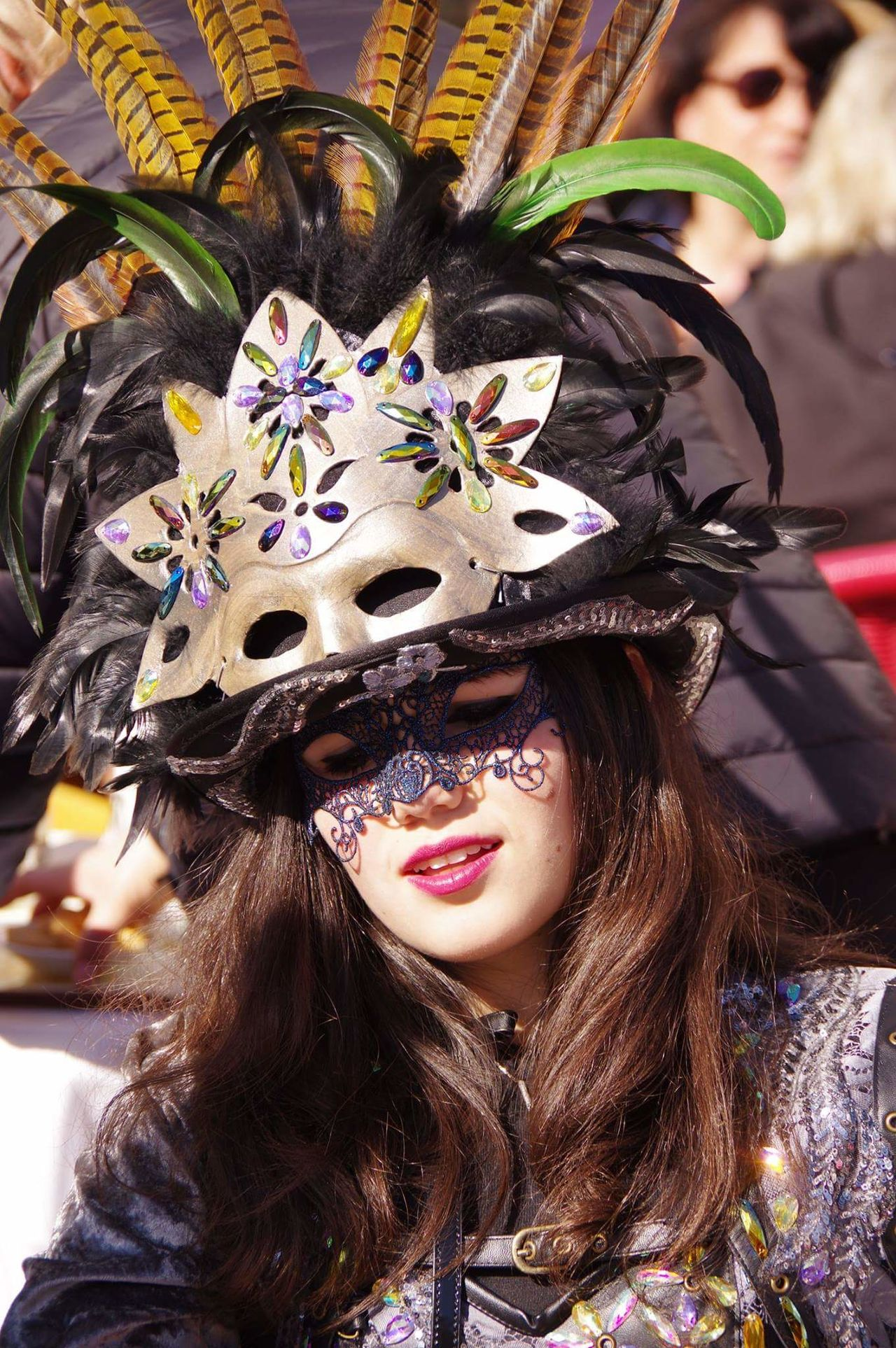 Cultures Headdress Portrait Lifestyles Traditional Clothing One Person Only Women Young Adult Carnevale Di Venezia Maschera Viso Dipinta A Mano Maschera Viso Maschera Veneziana Venetian Mask Gold Colored Mascherina Venice, Italy