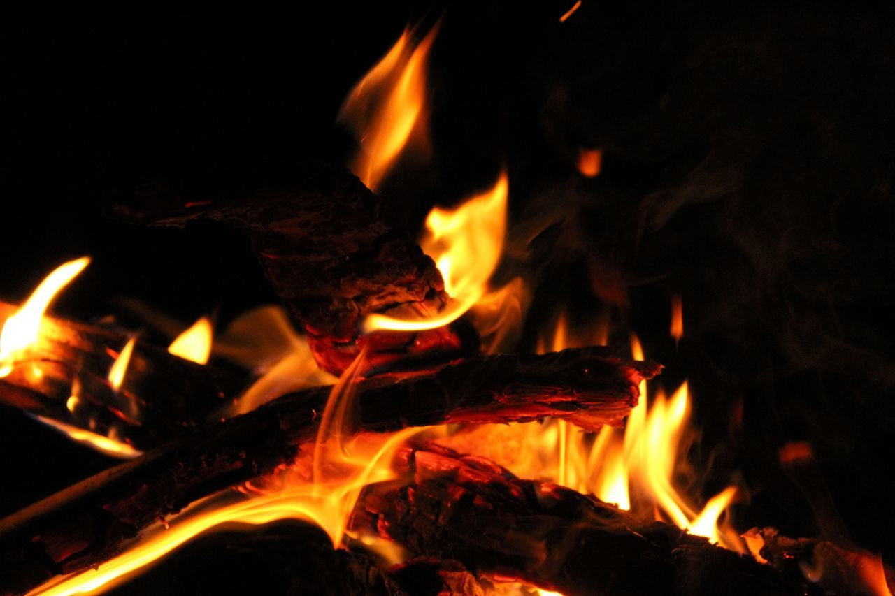 burning, flame, heat - temperature, night, orange color, no people, close-up, bonfire, motion, outdoors