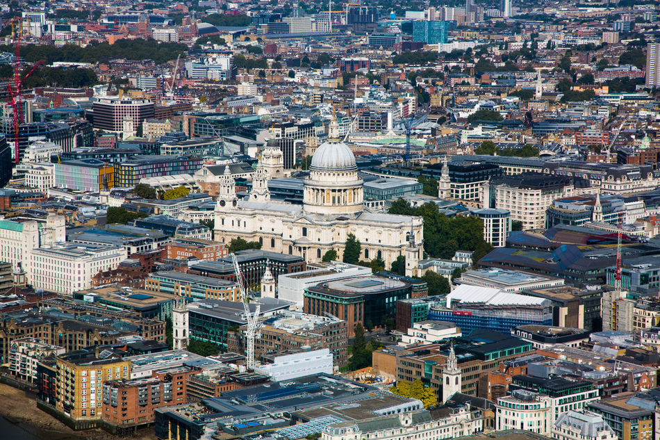 Aerial View Architecture City Cityscape Day Dome High Angle View Looking Across The City No People Outdoors Saint Paul's Cathedral Sky Travel Travel Destinations View Of The City View Out Of The Window