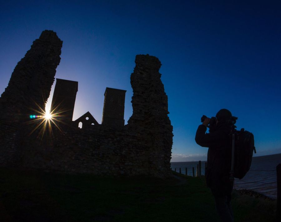 Reculver Roman Ruins Kent Visit UK  Leisure Activity Architecture Outdoors Technology Photographer Nature One Man Only Sky Lifestyles Clear Sky Blue Hour Blue Background Coastline Visit England Tranquility Beauty In Nature Scenics Dusk Photographer Photography Themes