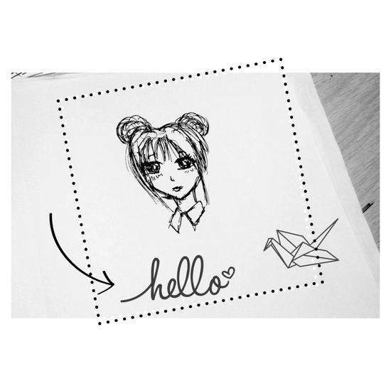 Anime Girl Art Pincel Picture Photography Blackandwhite