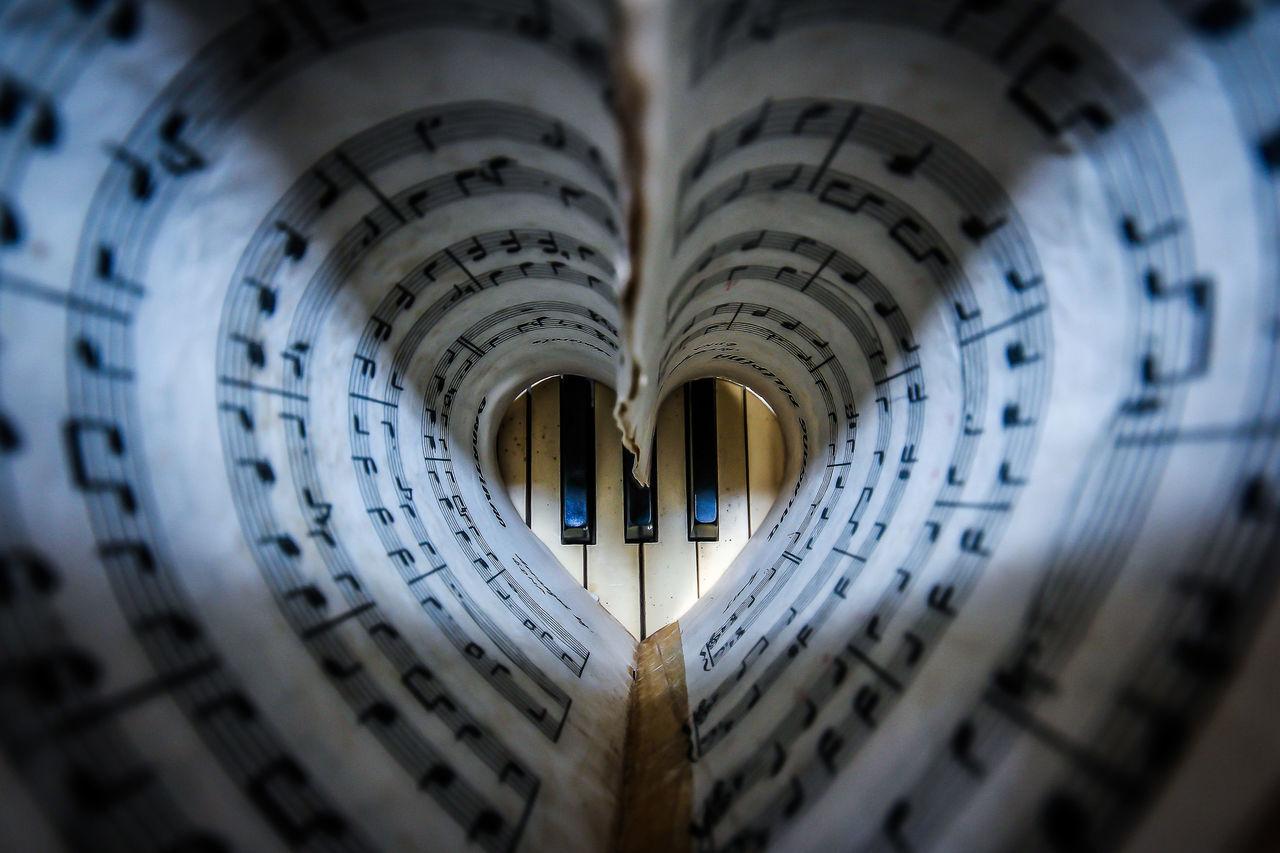 Close-Up View Of Music Sheet And Piano Keys