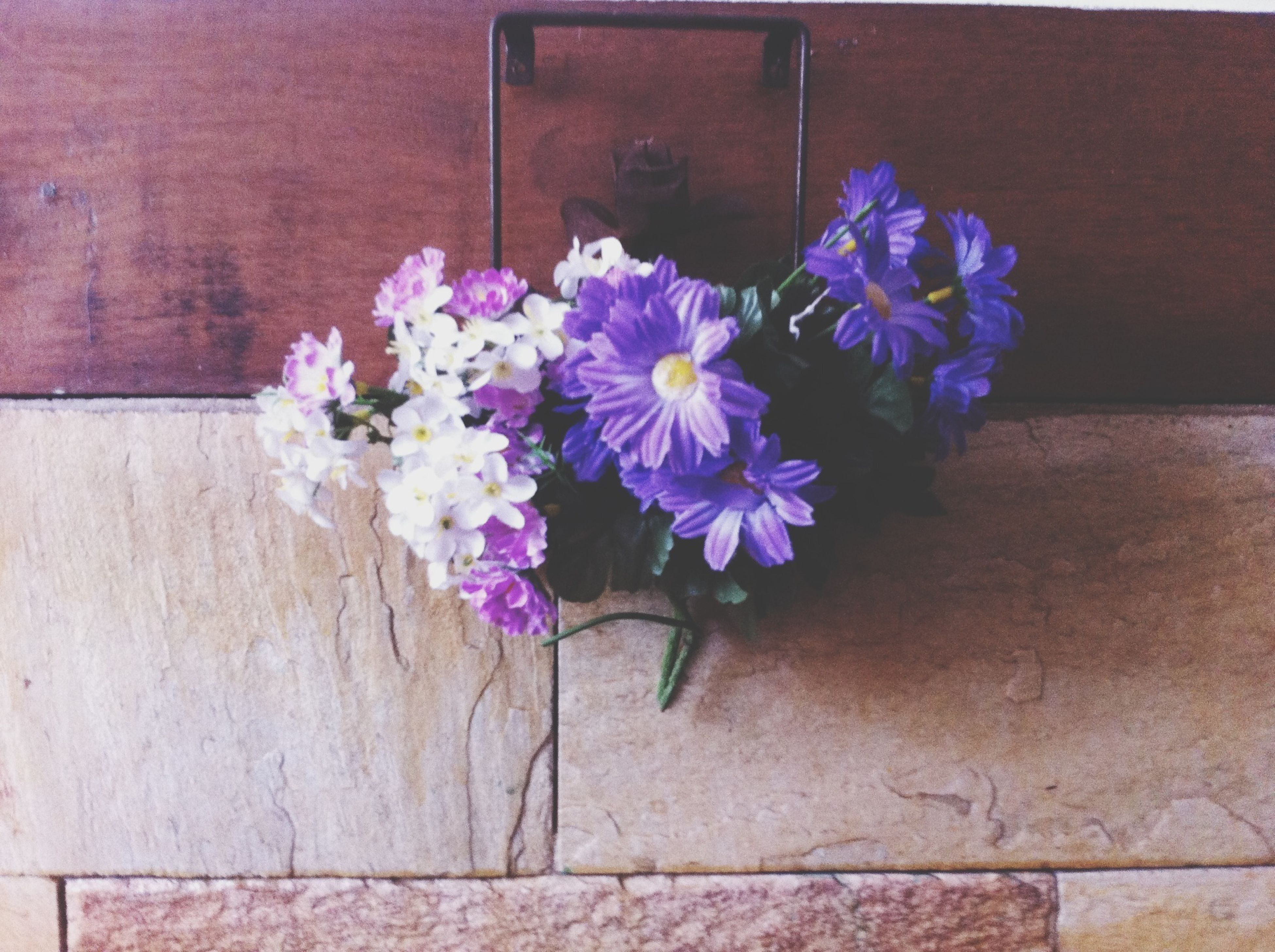 flower, fragility, wall - building feature, petal, freshness, purple, plant, pink color, wall, built structure, multi colored, growth, no people, potted plant, flower head, architecture, wood - material, indoors, day, decoration