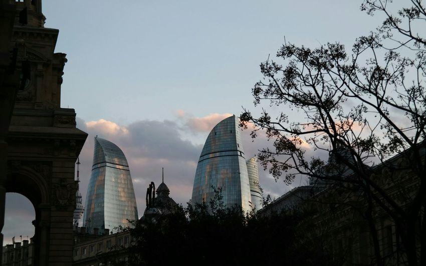 Baku Flametowers Future And The Past Beautiful Sky And City Sky Azerbaijan Open Edit