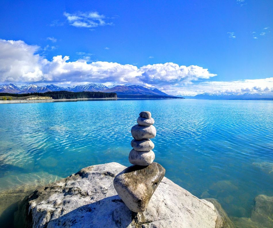 Mt Cook Water Rock - Object Blue Tranquil Scene Scenics Sky Tranquility Beauty In Nature Non-urban Scene Stone - Object Cloud - Sky Mountain Tourism Nature Sea Travel Destinations Vacations Getting Away From It All Day Loneliness pure nz Fresh On Eyeem