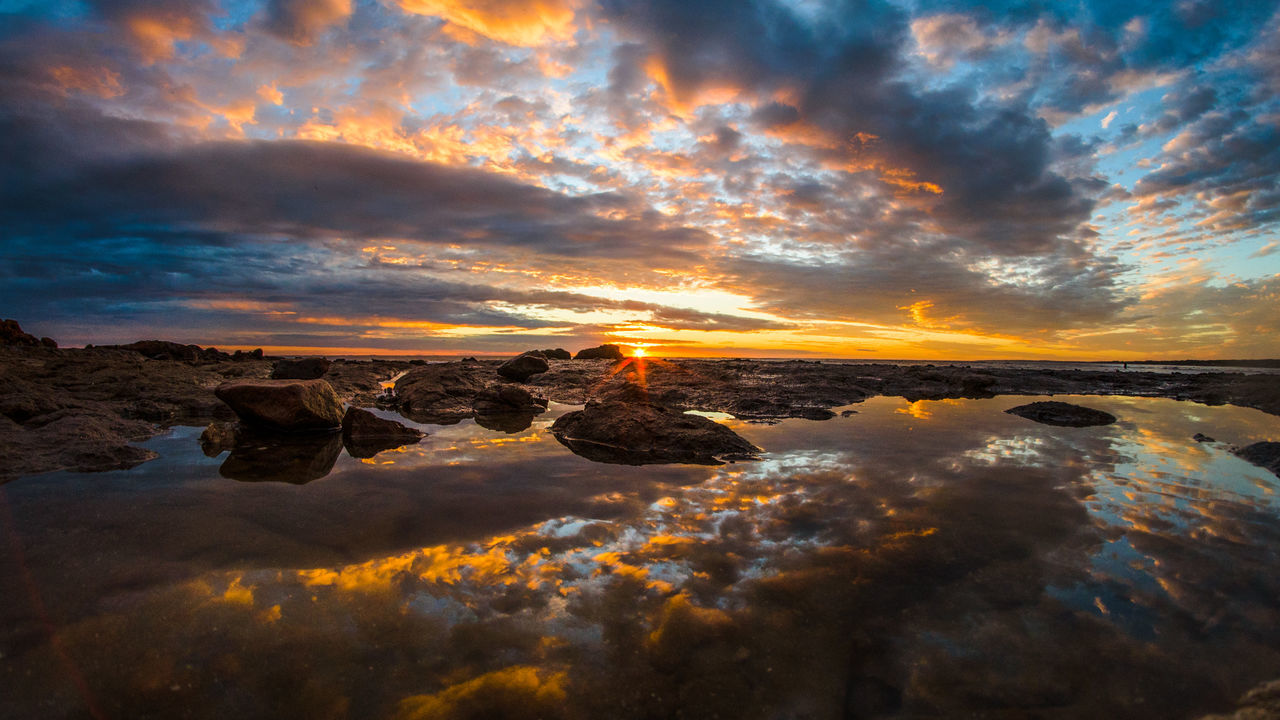 sunset, sky, scenics, beauty in nature, nature, tranquil scene, tranquility, orange color, water, rock - object, reflection, cloud - sky, sea, no people, outdoors, day
