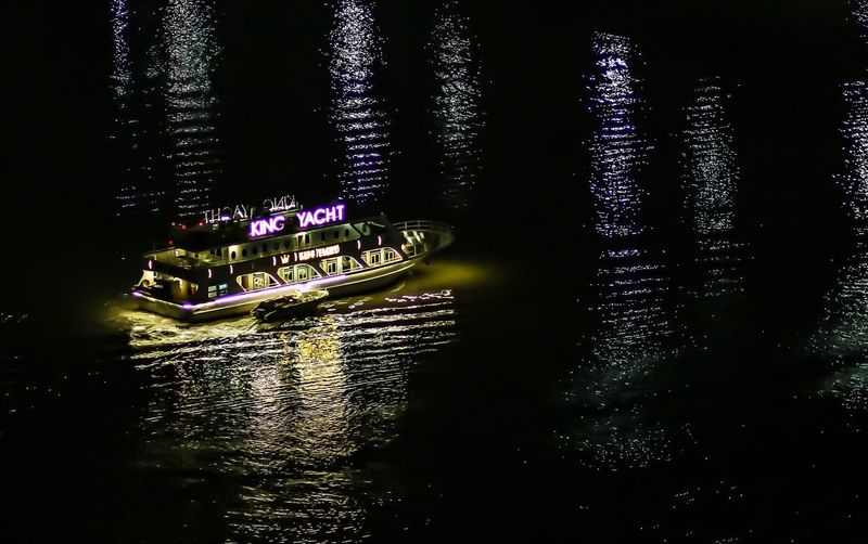 Transportation Mode Of Transport Nautical Vessel Water Waterfront Night Illuminated Outdoors Dreaming Silhouette Light Riverside ASIA Tranquility Scenics Hcmc Mekong River