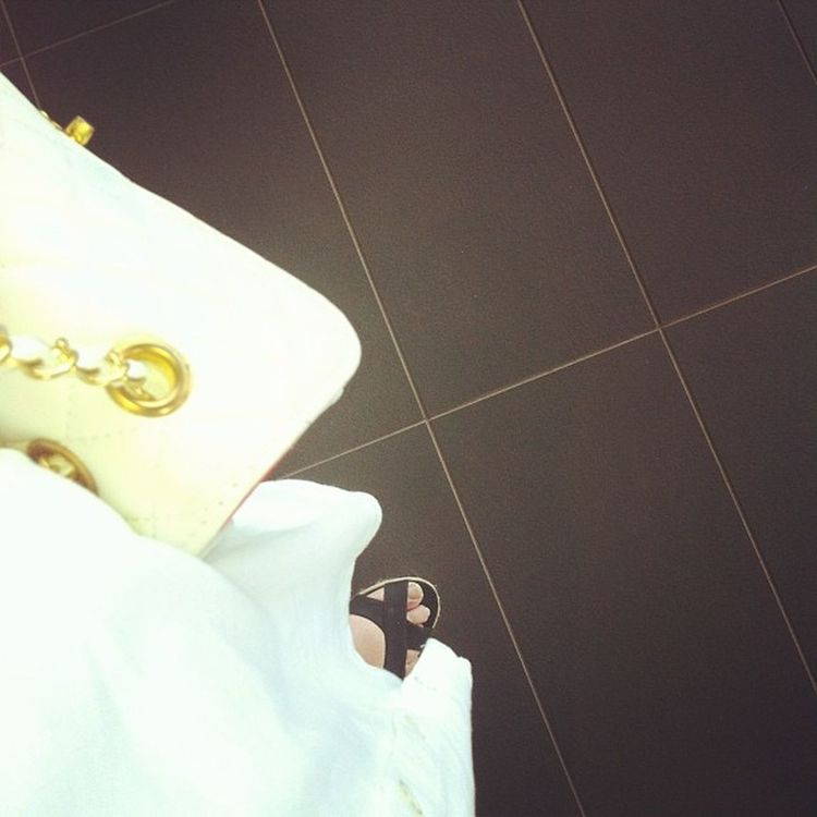 Does a Selfie Only Apply to head shots? foot show feet cute wedge fashion white dress pretty chanel bag gold girly girl