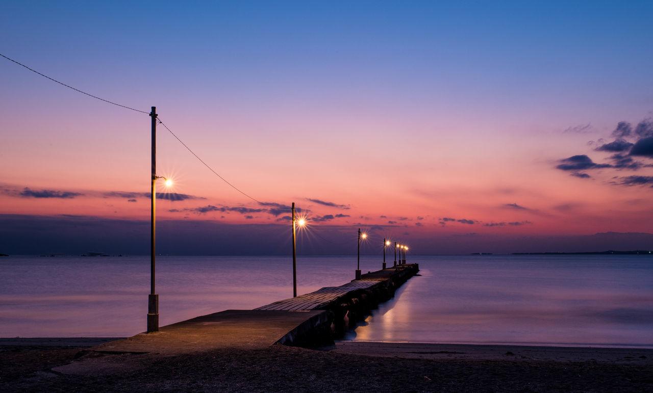 原岡海岸 Sunset Nightshot Lightup Sea Sea_collection Sea And Sky Seascape Sunset And Clouds  Pier Night Photography Beach Magic Hour