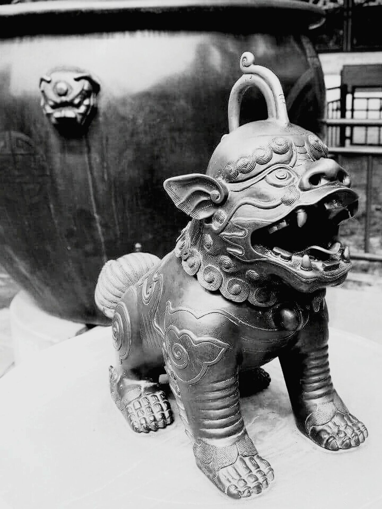 Blackandwhite Sculpture Statue Close-up Liondog Chinese Culture Forbidden City Bronze Bronze Statue Guardian Antique History China Cauldron