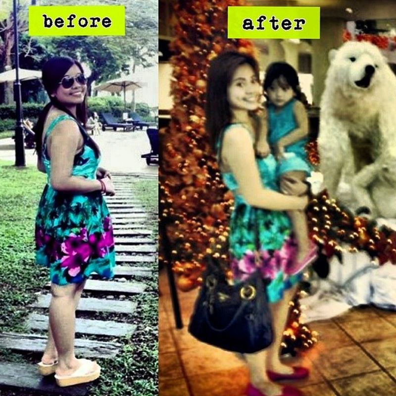 my not so throwback pic on the left (2013) and recent pic on the right. Same dress, same pose (may cute na bata lang po na difference), Slimmer face, smaller arm (medyo toned lang! Hehe), dress loosened and b**bs flattened! Hahaha.. Lost 20lbs in 3mos and happy to overcome my overweight days.. I post this to remind myself that eating healthy and regular exercise should not just be 'our goal' to stay fit, let's make it our lifestyle! have a healthy thursday everyone! Healthylifestyle Eatright Stayfit Caloriecount pushmopayan shedmorepounds