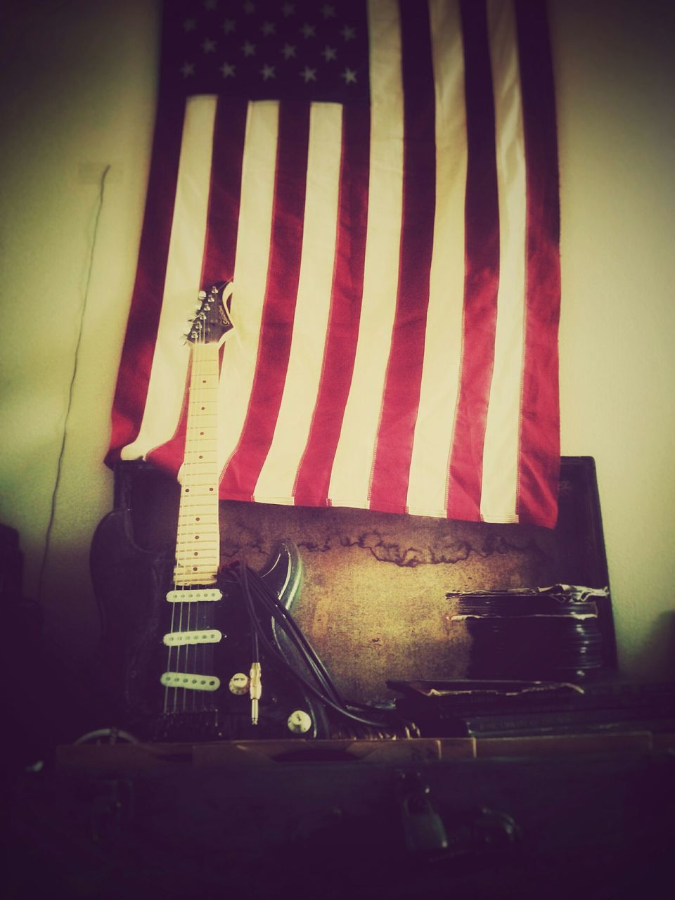 musical instrument, music, indoors, guitar, arts culture and entertainment, no people, electric guitar, close-up, night