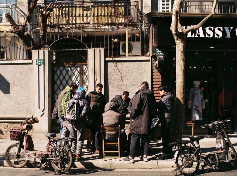 Sunny street of Shanghai Bicycle Street Building Exterior City City Life A Group Of People Shanghailife Streetphotography Exceptional Photographs From My Point Of View Urban Exploration Leica M6 Film Leicacamera