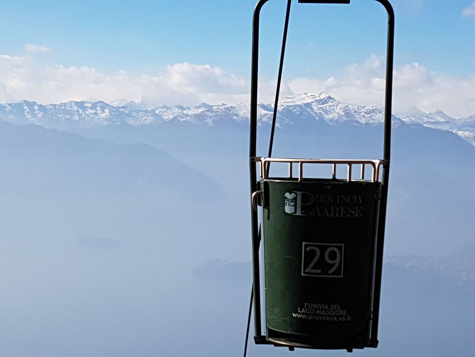 No People Lago Maggiore Italy Furnicular Cable Car Snowy Landscape Mountains