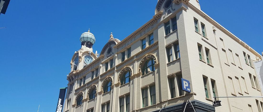 Low Angle View Blue Architecture Building Exterior Window No People Outdoors Day Sky Navy Blue Streets Of Sydney Ultimo Sydney, Australia