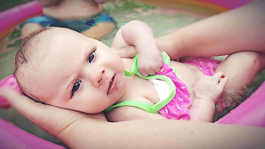 Baby Baby Girl Swimming Pool Beach Baby Eyes Cambriejoanna Cambrie Daughter Bikini Summer Hello World Summertime Natural Beauty Babies Contrast Bright Eyes So Serious Those Eyes Pink And Green Strawberry Cute Cutie