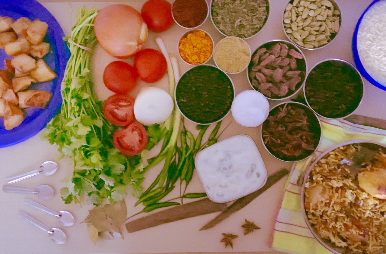 Fresh Ingredients Ingredients Cooking At Home Cooking Dinner Cooking Time Biryani Spices Of The World Spices End Product, Work Of Art. My Kitchen Tabletop Spoons Bowls Indian Food Cooking Ingredient Colours Colors Freshness Healthy Eating Healthy Food Flavours