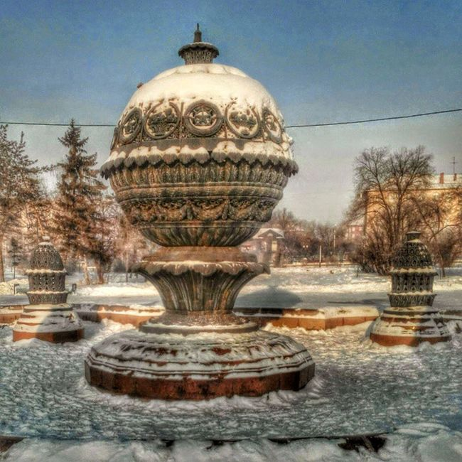 омск сибирь новыйгод рождество мороз Морозисолнце зима снег фонтан Snow Winter Frostandsun Frost NewYear Christmas HDR Fontaine
