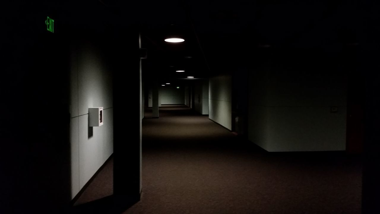 Indoors  No People Illuminated Gloomy Hallway Exit Sign Light And Shadow The Secret Spaces
