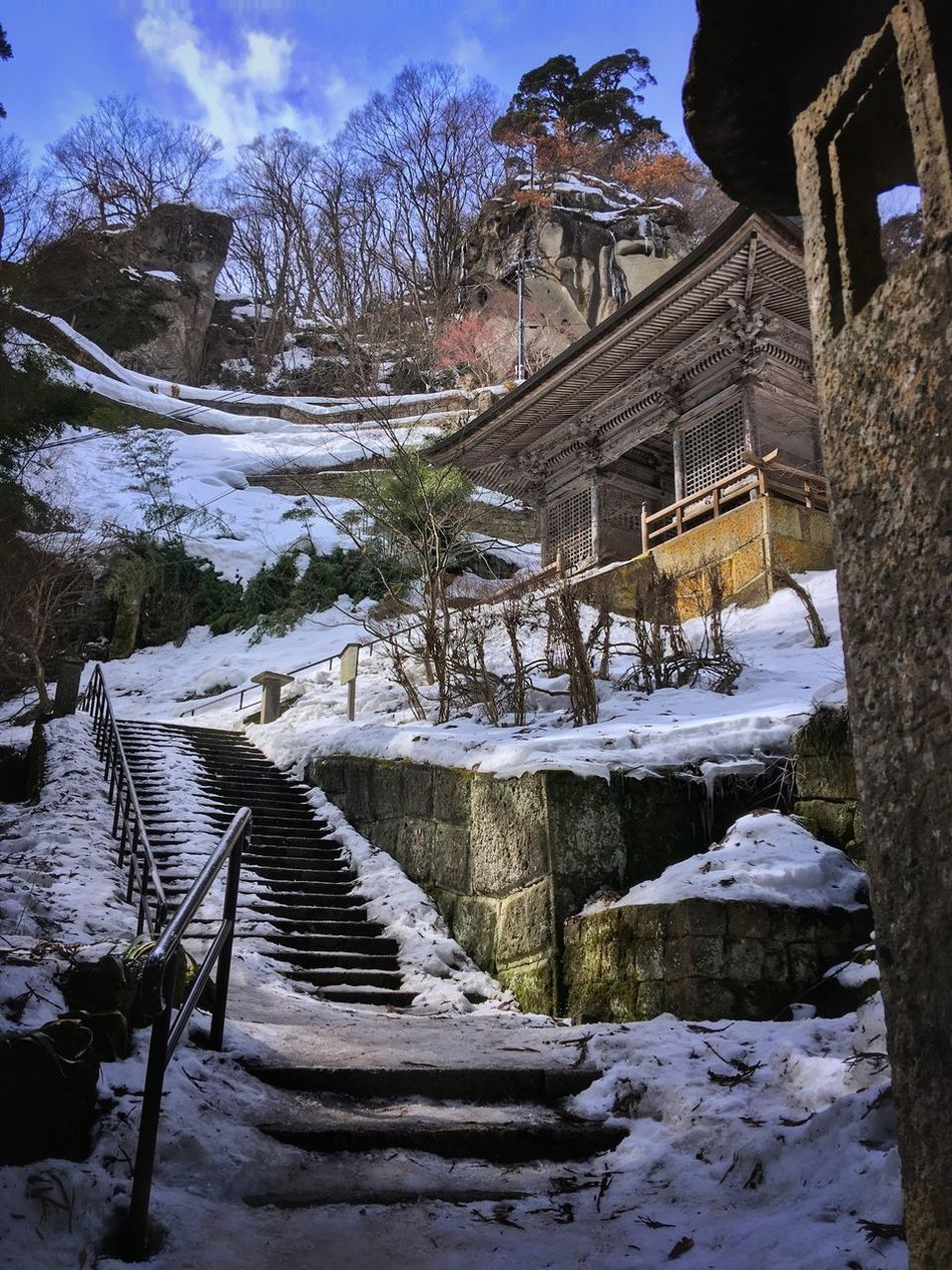 The walk up to Yamadera temple in Yamagata prefecture, Japan Japan Japan Photography YAMAGATA Snow Winter Temple Temple - Building Tree Steps Nature Steps And Staircases Architecture Outdoors Mountain Day Japanese Culture Japanese Style Japanese Temple Japanese  Mountain View Culture Culture And Tradition Yamadera