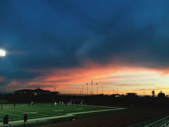 Such a pretty sunset for a good soccer game. ⚽️ Soccer Senior Night 2015