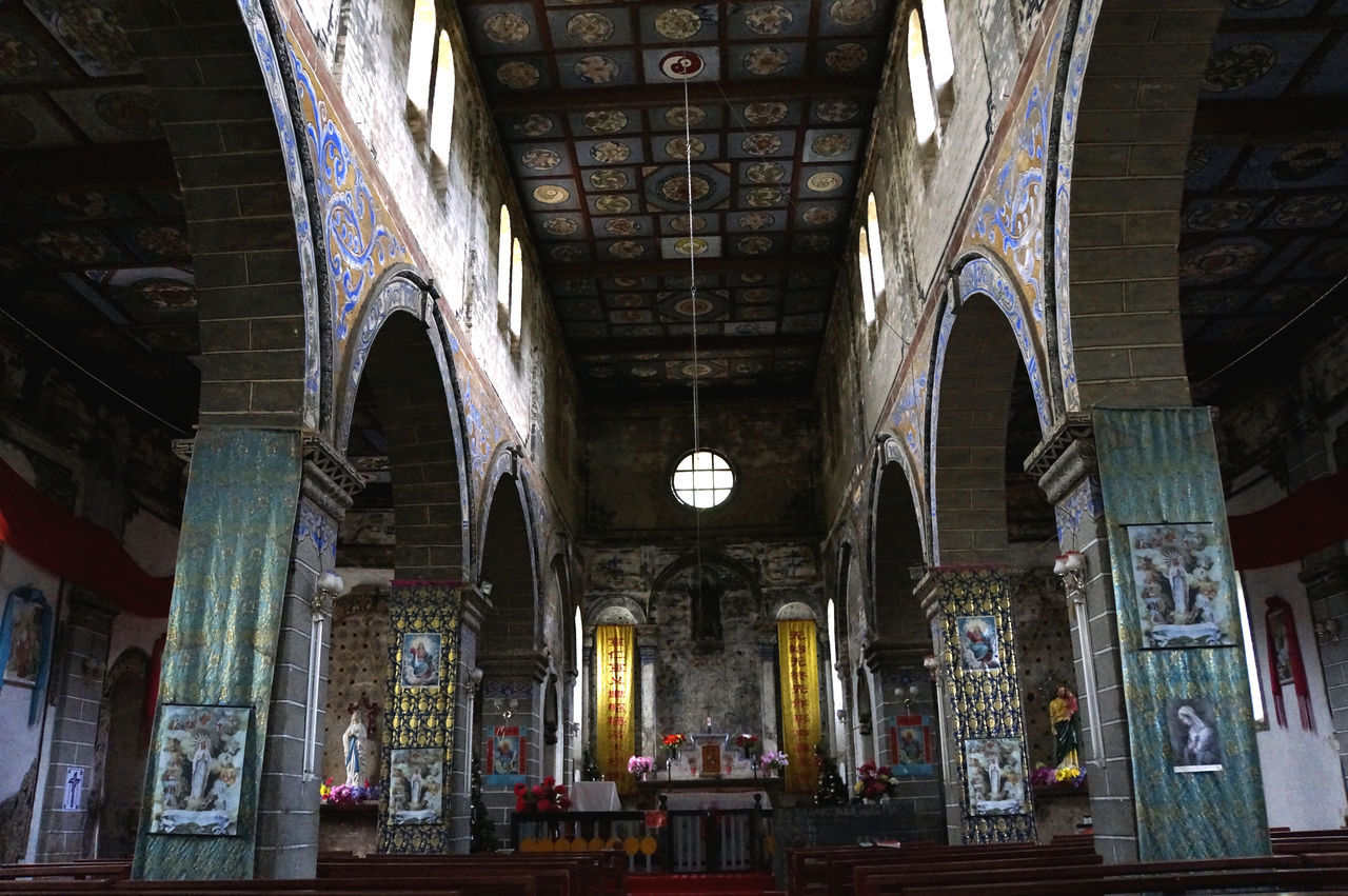 Catholic church in Cizhong, Yunnan Altar Arch Architectural Column Architecture Built Structure Catholic Church In Cizhong, Yunnan China Christianity In China Day History Indoors  Mekong River No People Place Of Worship Religion Spirituality Tibet