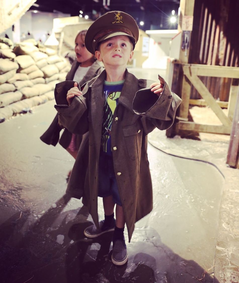 Tank Museum Child Dressing Up Front View Hat Museum Person Portrait World War I