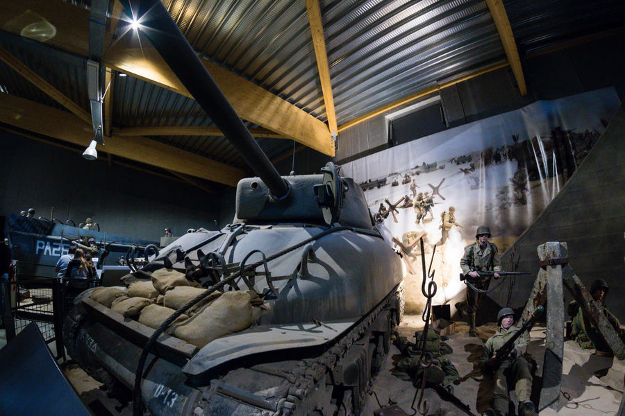 Overlord Museum, Colleville-sur-mer, Normandy, France, July 2017 D-Day II War World. Overlord Museum Soldiers Exhibition Exhibits Exposure Military Museum Omaha Beach Overlord Sherman Tank Tank Weapon Weapons
