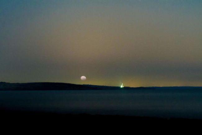 Water Beauty In Nature Sea Waterfront Dark Sky Moon Moonset Pre Sunrise Moonsetting Misrata Libya