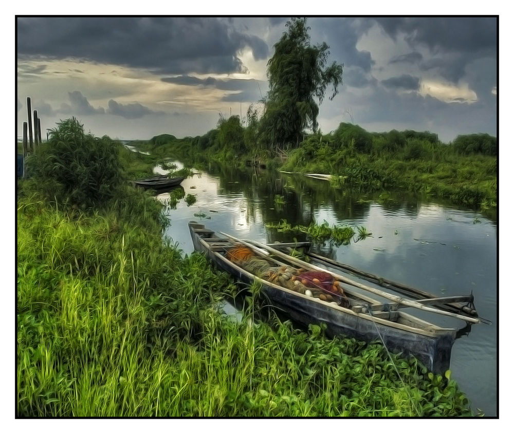 Auto Post Production Filter Banca Boat Boat Cloud Cloud - Sky Clouds And Sky Cloudy Grass Grassland Joel Yonzon Lake Lakeside Landscape_photography Mode Of Transport Moored Nature Plant Tranquil Scene Tranquility Transportation Tree Water Water Reflections