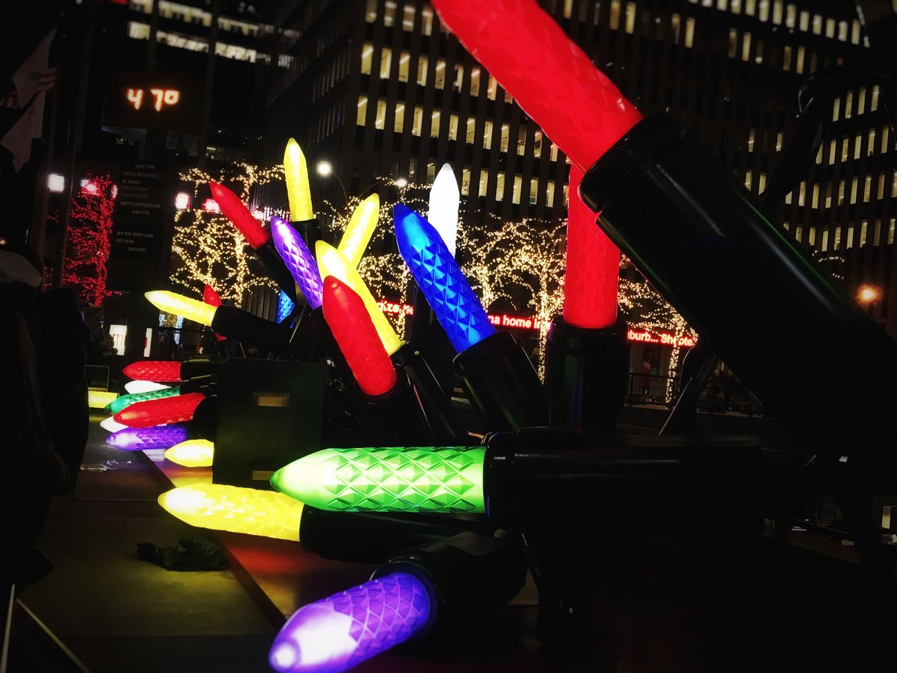 Giantlight Christmas Lights Colorful Festival Of Lights Travel Photography Check This Out Multi Colored Night Hanging Out Taking Photos Love ♥ New York City Strolling Around Holidays Christmas Decorations Travel Happyness