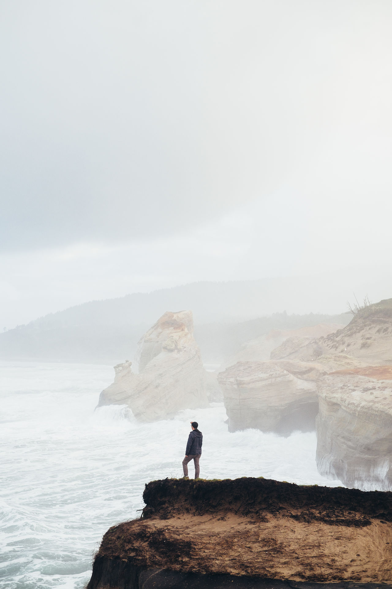 The Rush One Man Only One Person Standing Silhouette Water Nature Full Length Beauty In Nature PNW Outdoors Scenics The Great Outdoors - 2017 EyeEm Awards Tranquility Travel Destinations Cape Kiwanda Oregon Coast Adventure Sunrise