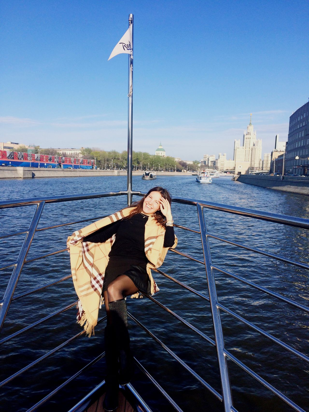 Nautical Vessel Water Outdoors Portrait Boat Deck One Person Young Women Moscow Beatiful Girl Beautiful Woman Traveling Travel Destinations Russia Smile Smiling Happiness Happy People
