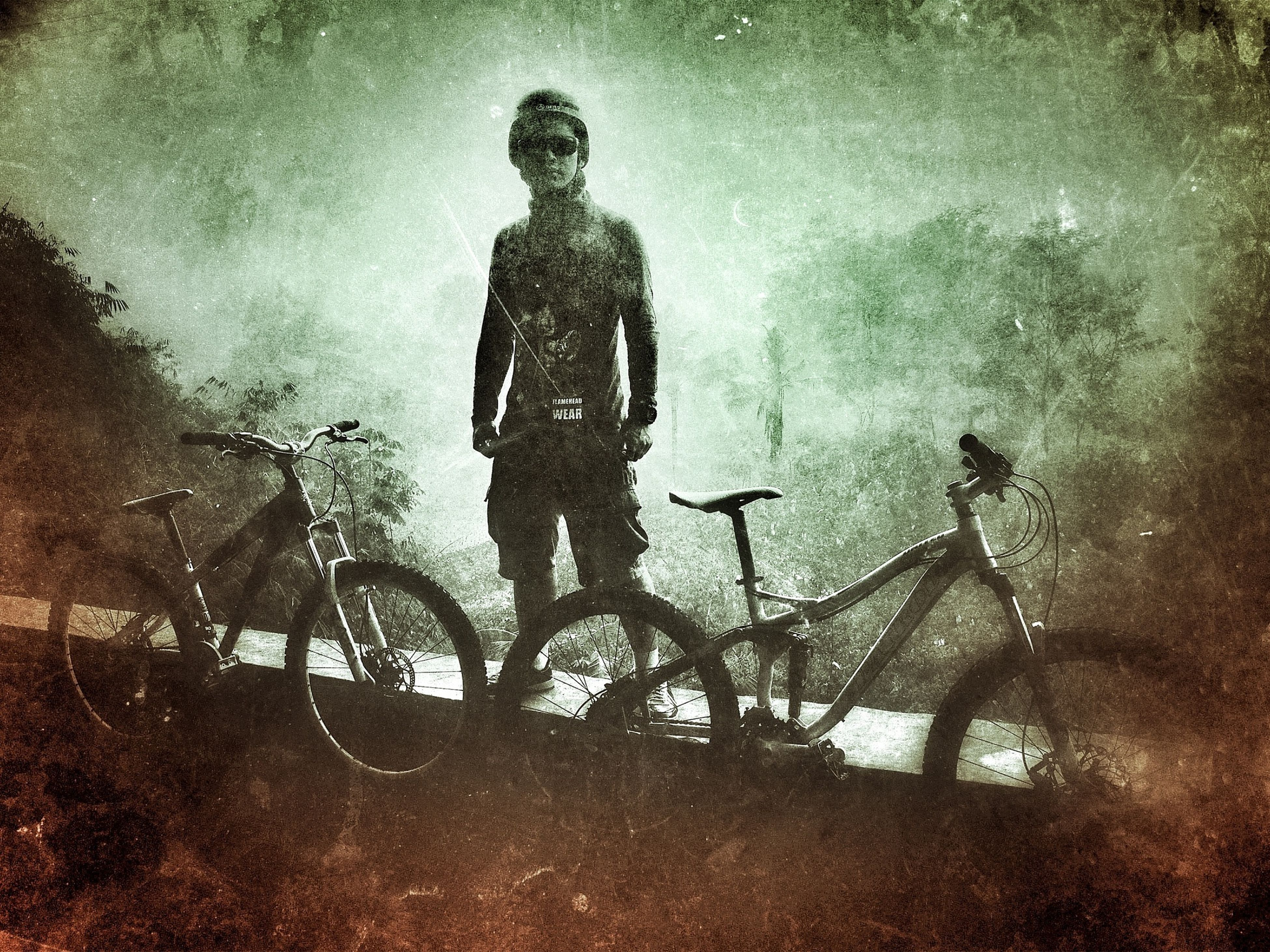 bicycle, transportation, mode of transport, auto post production filter, land vehicle, sky, men, outdoors, lifestyles, night, low angle view, leisure activity, nature, puddle, full length, motion, weather
